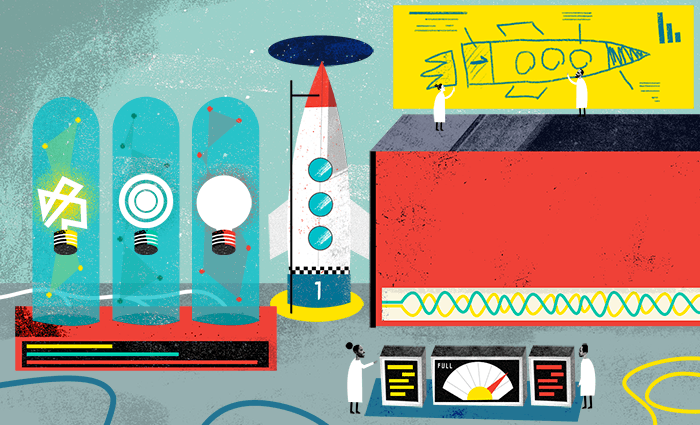 An illustration of a messy laboratory. There are light bulbs in glass tanks, a schematic of a rocket with the fidelity of a child's drawing, and an actual rocket. Two scientists are operating a control panel.